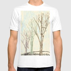 A Winters Sketch White Mens Fitted Tee SMALL