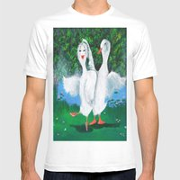 Pas De Ducks Mens Fitted Tee White SMALL