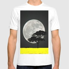 Lone Tree And Moon. Mens Fitted Tee White SMALL