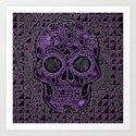Skull, purple Art Print