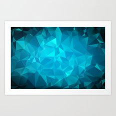Blue Polygonal Mosaic Art Print