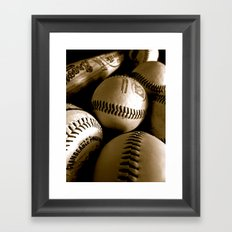 Baseball Days in B&W Framed Art Print