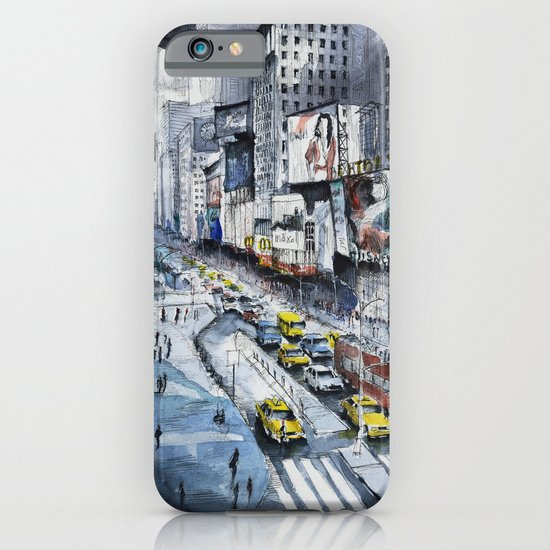 Time square - New York City - Illustration watercolor painting iPhone & iPod Case