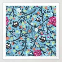 Owls. Art Print