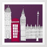 Night Sky // London Red … Art Print