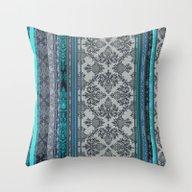Teal, Aqua & Grey Vintag… Throw Pillow