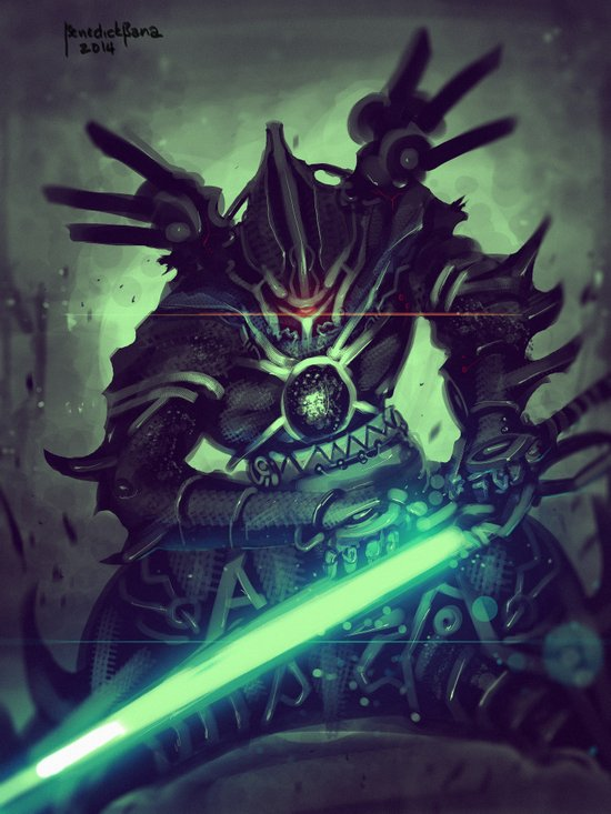 Elite Cyber Swordsman Art Print