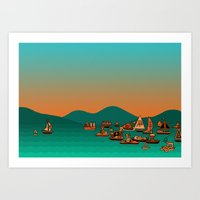 Musical Boats Art Print