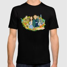 Custom illustration for a couple SMALL Mens Fitted Tee Black
