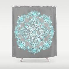 Teal and Aqua Lace Mandala on Grey Shower Curtain