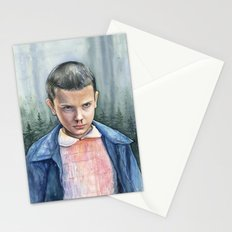 Eleven from Stranger Things Watercolor Portrait Art Stationery Cards