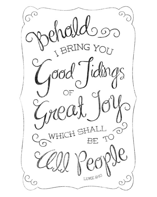 Good Tidings of Great Joy Typography Art Print