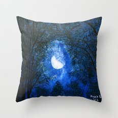 Trees in the moonlight Throw Pillow