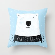 winter rocks Throw Pillow