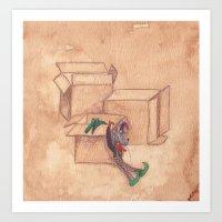 Tres Cajas De Cartón Y … Art Print