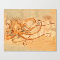 Octopus Drinking Tea Canvas Print
