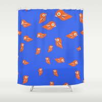 Pretty Orange Birds Shower Curtain