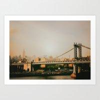 New York City Sunset and the Manhattan Bridge Art Print