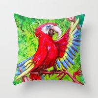 Tropical Parrot with Maracas  Throw Pillow