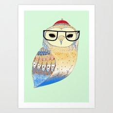 hipster owl Art Print