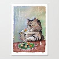 Sushi Cat- Fancy Feast Canvas Print