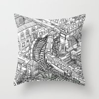 The Town of Train 2 Throw Pillow