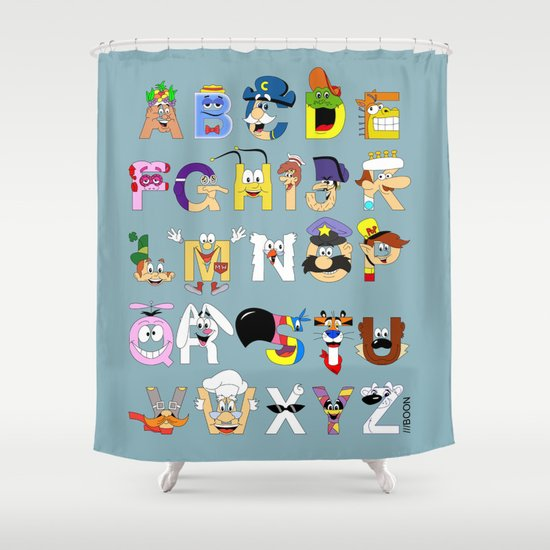 Breakfast Mascot Alphabet Shower Curtain