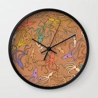 Squids of the inky ocean - retro colorway Wall Clock