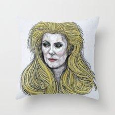 Retro Femme Doodle Throw Pillow
