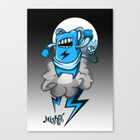 StormBot - Blue Robot Canvas Print