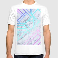Marbled 1 White Mens Fitted Tee SMALL