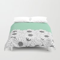 Daisy Boarder Mint Duvet Cover