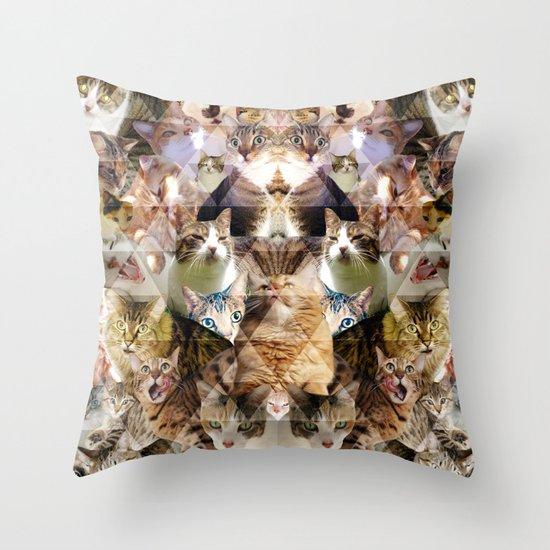 Cat Kaleidoscope Throw Pillow