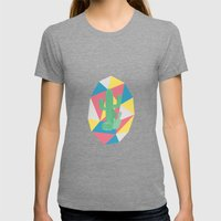 Geo Cactus Womens Fitted Tee Tri-Grey SMALL