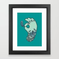 Framed Art Print featuring Blue Feather Tattoo by Evannave