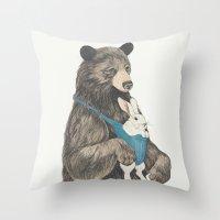 the bear au pair Throw Pillow