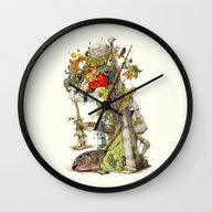 Wall Clock featuring Compositions Naturally by Maethawee Chiraphong