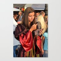 Renaissance Dressed Beauty and the Cute Little Beast Canvas Print