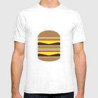 Burger Illustration Mens Fitted Tee White SMALL