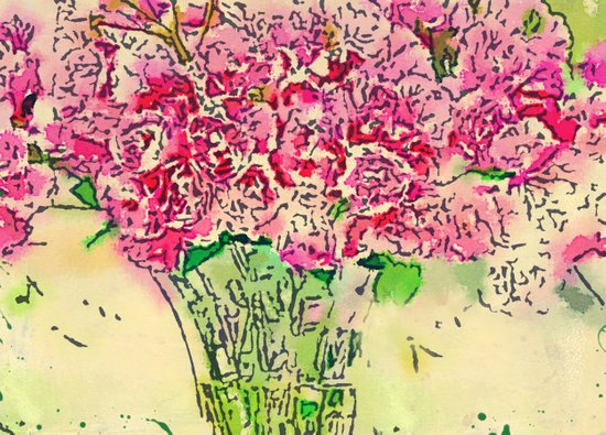 Coming Up Roses -- Pink Rose Flower Bouquet Waterlogue Paris Apt Chic Still Life Art Print