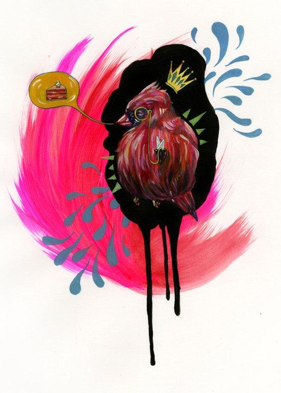 Fat Bird Demands Cake Art Print