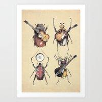 monster Art Prints featuring Meet the Beetles by Eric Fan