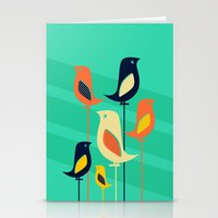 Mid Century Birds Stationery Cards