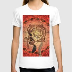 Awesome skull Womens Fitted Tee White SMALL