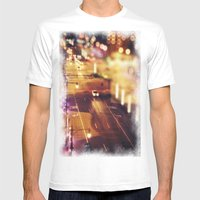 Blurred Lights Mens Fitted Tee White SMALL