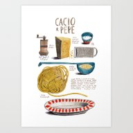 Illustrated Recipes: Cac… Art Print