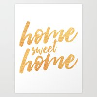 Home Sweet Home - Gold Art Print