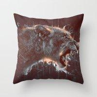 DARK LION Throw Pillow