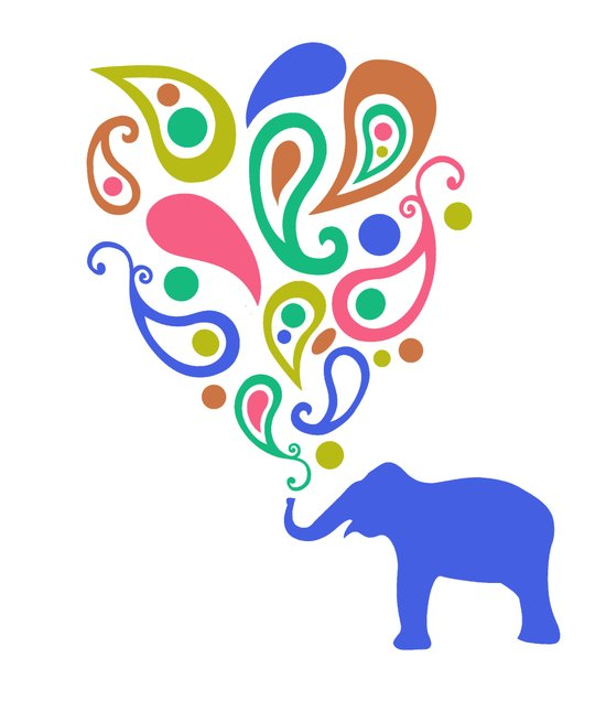 Multi-Colored Paisley Elephant Pattern Design Art Print