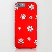 iPhone & iPod Case featuring Snowflakes (White on Red) by Paul James Farr